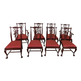 1980s Chippendale Style Mahogany Dining Chairs - Set of 8