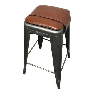 Tolix Marais Custom Leather Seat Pad Barstool