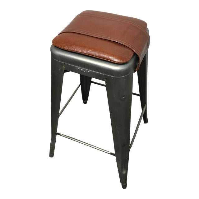 Tolix marais custom leather seat pad barstool chairish - Tolix marais barstool ...
