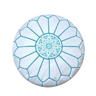 White and Turquoise Moroccan Leather Pouf
