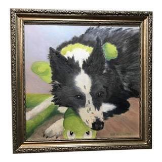 """""""Border Collie's Got a Baby"""" Oil on Canvas Painting"""