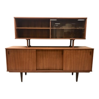 Danish Modern Teak Sideboard with Floating Hutch