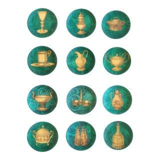 Piero Fornasetti-Twelve Stoviglie Malachite Plates, 1950s-60s.