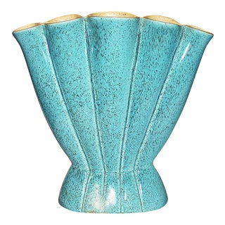 Turquoise Red Wing Mid-Century Vase