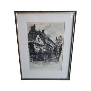 Original Etching of European Village Scene