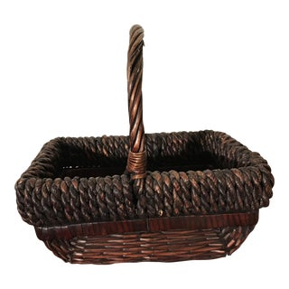 Rope-Trimmed Woven Basket