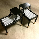 Image of Vintage Black Two-Tiered End Tables - A Pair