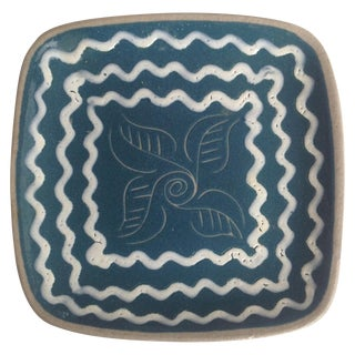 Blue & White Enameled Glidden Pottery Tray