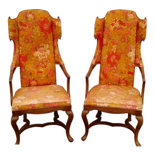 Jim Peed Esperanto Drexel Wingback Chairs - A Pair