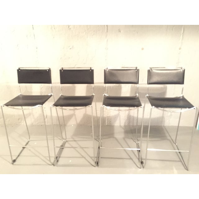 Image of Design Within Reach Italian Leather Chrome Bar Stools - Set of 4
