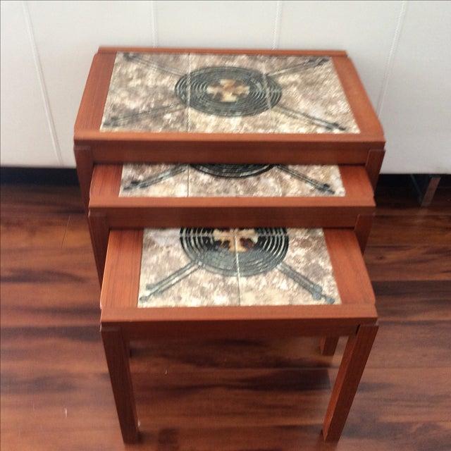 Danish Modern Gangso Mobler Tile Nesting Tables - Image 7 of 8