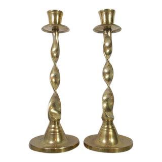 Vintage Brass Twist Candlesticks - A Pair