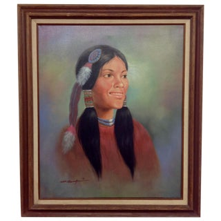 Native American Girl, Oil Painting