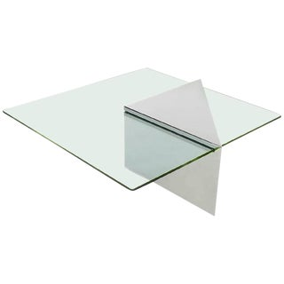 Polished Stainless Steel Cantilever Cocktail Table by J. Wade Beam for Brueton