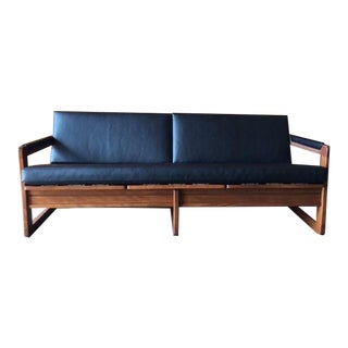 Vintage Black Vinyl Walnut Wood Sofa