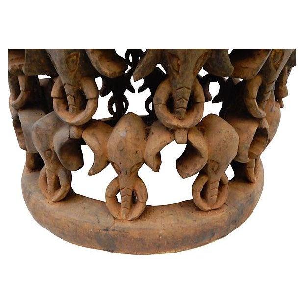 African Elephant Bamileke Table Stool - Image 4 of 7