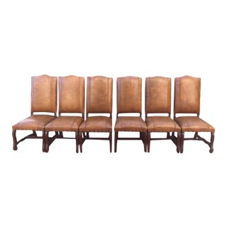 Leather Dining Chairs With Nailheads - Set of 6