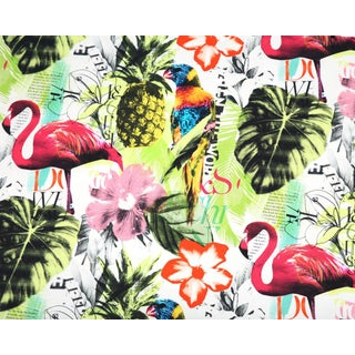 Pineapple Flamingo Art Collage Fuchsia Tropical Upholstery Fabric - 1 Yard