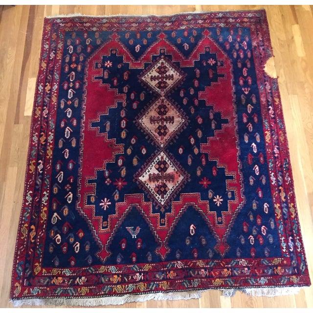 Vintage Ornate Kazak Persian Rug - 5' x 6' - Image 8 of 10