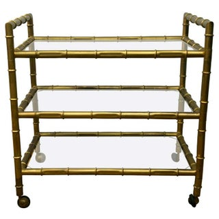 1950s Faux Bamboo Bar Cart