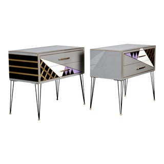 Italian Two-Drawer Cabinets with Murano Glass and Brass Inlays - A Pair