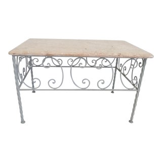 Vintage French Iron & Marble Top Coffee Table