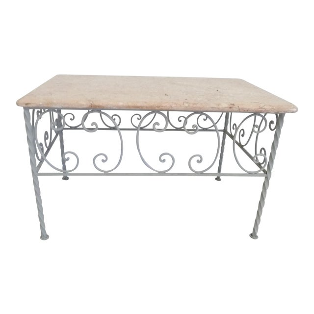 Vintage French Iron & Marble Top Coffee Table - Image 1 of 9