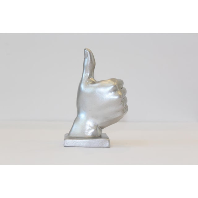 Silver Thumbs Up Hand Symbol Sculpture - Image 3 of 7