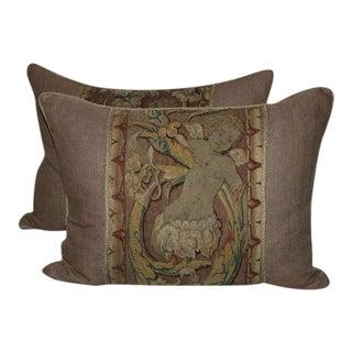 Pair of 18th Century Cherub Tapestry Pillows