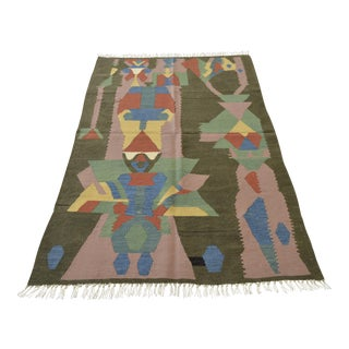 Handwoven Turkish Paul Klee Painting Rug - 3′7″ X 5′7″