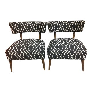 Reupholstered Mid-Century Slipper Chairs