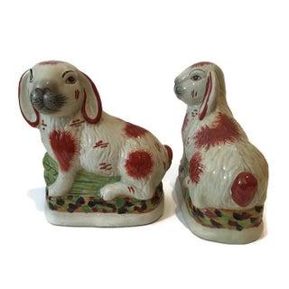 Staffordshire Style Porcelain Rabbit- A Pair