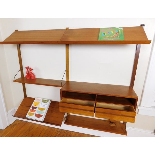 Danish Modern Teak Floating Adjustable Desk Wall Unit Bookcase by Carlo Jensen for Hundevad & Co - Image 5 of 9