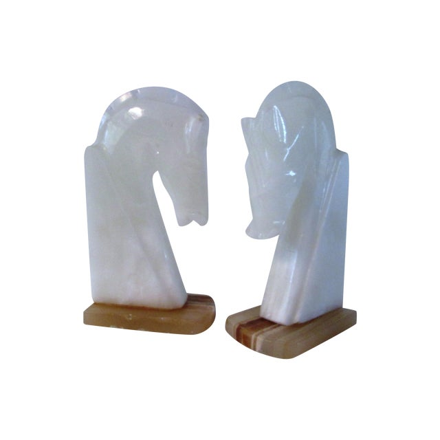 Image of White Crystal Onyx Horse Head Bookends - Pair