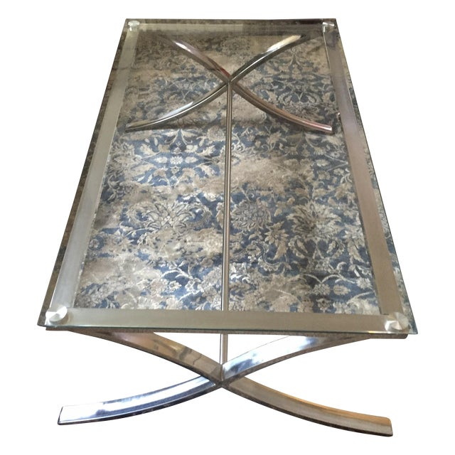 Glass and Stainless Steel Coffee Table - Image 1 of 3