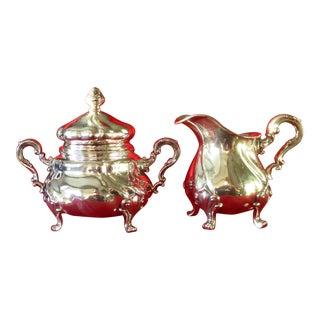 Antique Rococo Silver Sugar & Creamer Set