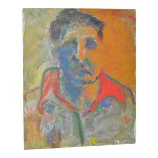 Vintage Abstract Oil Portrait in Orange