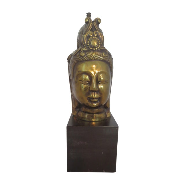 Large Brass Buddha Head - Image 1 of 6