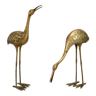 Pair of Mid-Century Tall Brass Crane Statues