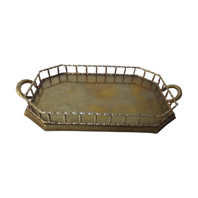 60s Brass Serving Tray With Gallery - Image 1 of 7