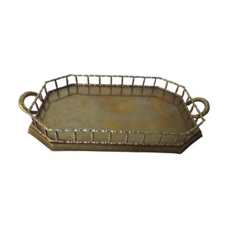 60s Brass Serving Tray With Gallery
