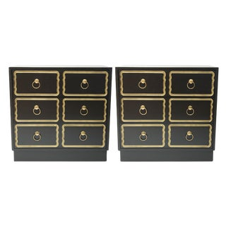 Mid-Century Matte Black Chests - A Pair