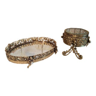 Hollywood Regency Ormolu Cherub Tray & Box - A Pair