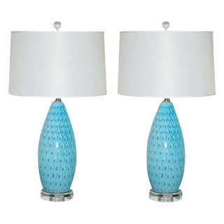 Galliano Ferro Murano Peacock Lamps