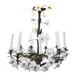 Vintage Milk Glass Lily Chandelier