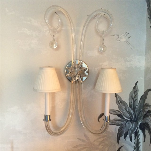 Image of Mid Century Modern Double Candle Glass Sconces