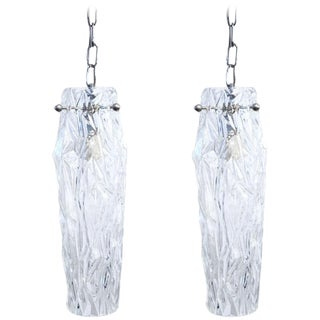 Pair of Prismatic Icicle Pendants