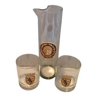 "Mid Century Gold ""N"" Monogram Pitcher & Gold Shield Lion Low Ball Glasses - Set of 3"