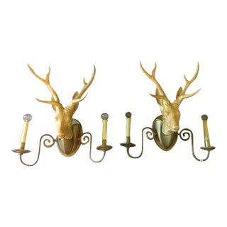 Chapman Deer Head Sconces - Pair
