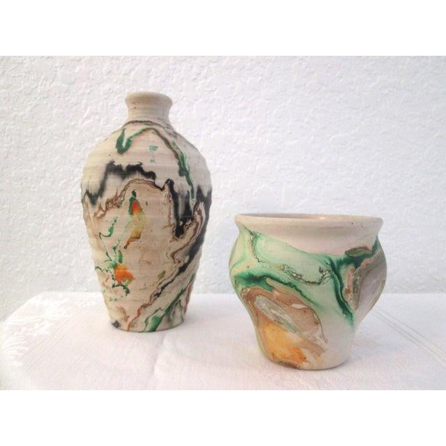 Nemadji Swirl Pottery Vessels - Pair - Image 2 of 11